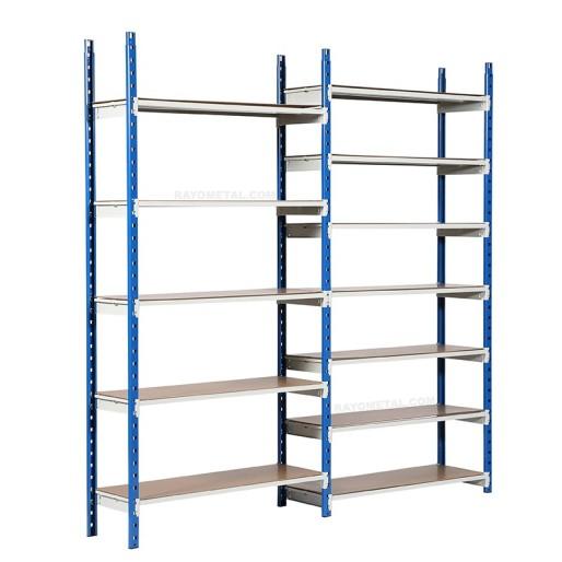 Rayonnage archive capacité 150 kg par niveau composé d'un élément de départ et d'un élément suivant avec panneaux isorels
