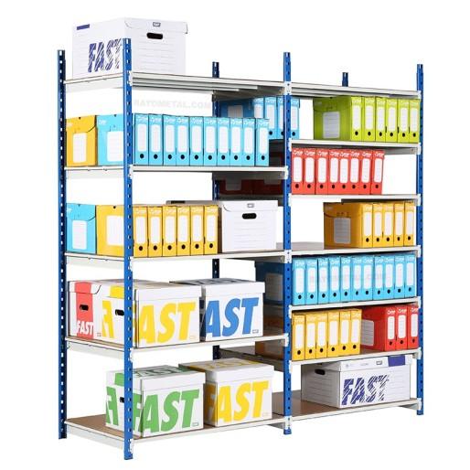 Vue de 3/4 du rayonnage archives profondeur 340 mm avec boites d'archives .