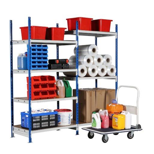 Rayonnage tubulaire professionnel vue de 3/4 pour le rangement et stockage en magasin, réserve, garage...