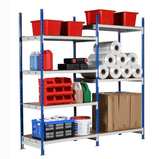 Stockage de matériel varié jusqu'à 300 kg par niveau sur le rayonnage semi lourd dont les tablettes se règlent tous les 5 cm.