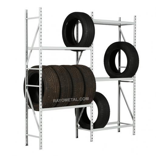 Vue de 3/4 du rayonnage à pneus léger idéal pour le stockage de pneus en ateliers et garages.