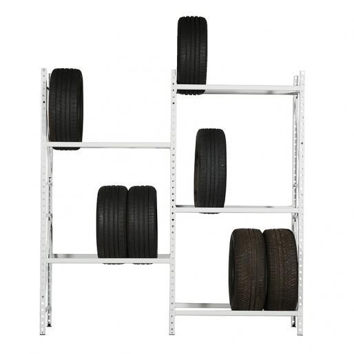 Vue de face du rayonnage à pneus léger disponible en hauteur de 2 mètres à 2.8 mètres.