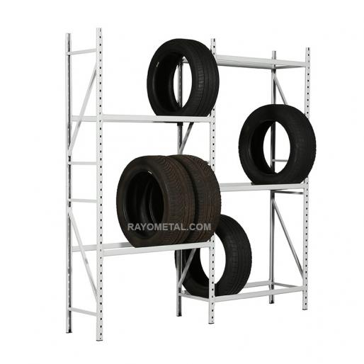Rack à pneus professionnel en tube d'acier capacité de charge 150 kg par niveau, finition peinture epoxy grise.
