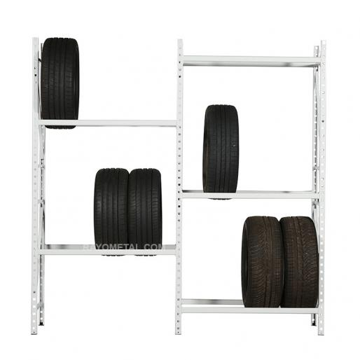 Vue de face d'un élément de départ et d'un élément suivant du rayonnage à pneus léger.