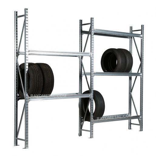 Rayonnage à pneus mi lourd galvanisé pour le stockage de pneus et jantes en garage et atelier.