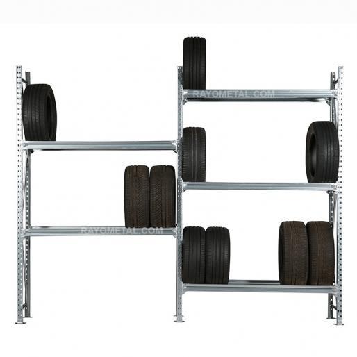 Vue d'ensemble d'un rack à pneus mi lourd personnalisable en hauteur et en largeur.