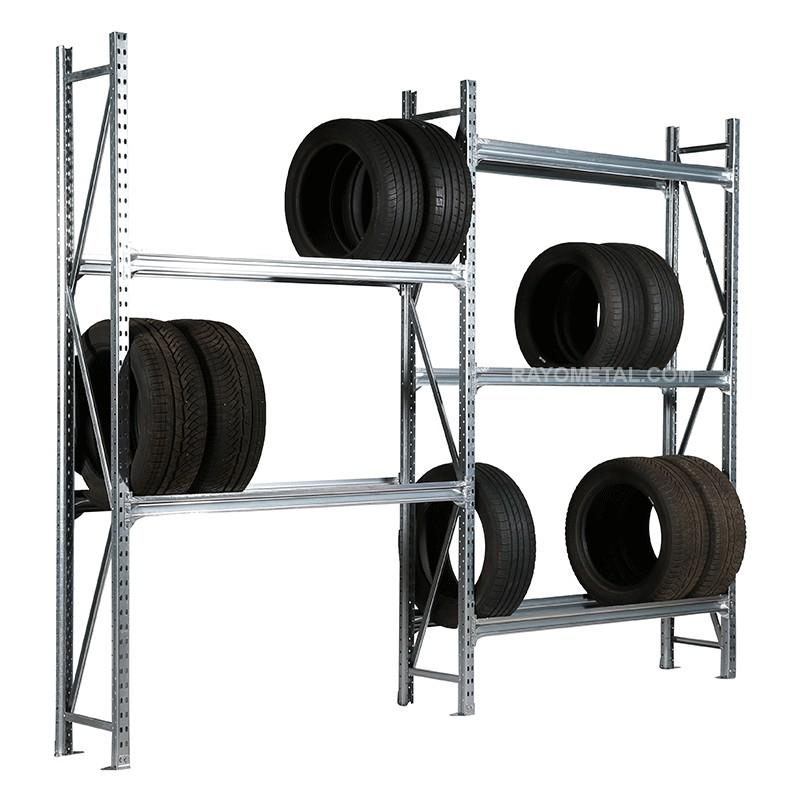 Rack à pneus mi lourd capacité de charge 450 kg par niveau en acier galvanisé.