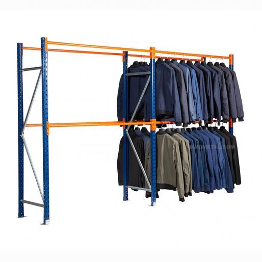 Rayonnage pour vêtement capacité de charge jusqu'à 280 kg par niveau, échelles bleues, lisses pour vêtements orange.