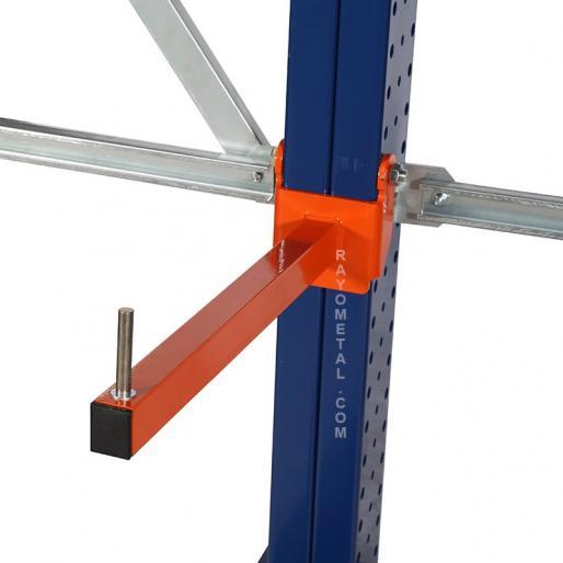 Zoom d'un bras de cantilever vue du dessus, pour stockage horizontal.