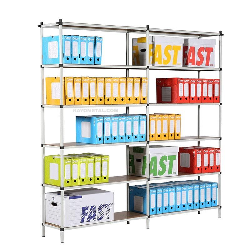 Rayonnage archives capacité de charge par niveau 80 kg pour boites d'archives et fournitures de bureau.