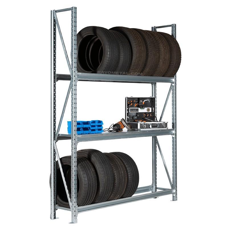 Rack a pneus avec option tablette pleine.